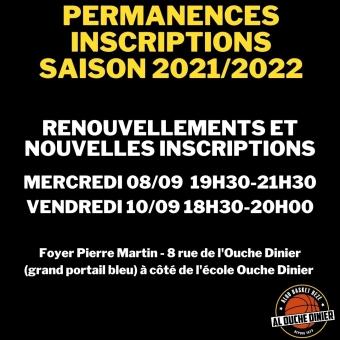 Permanences inscriptions et réinscriptions saison 2021/2022