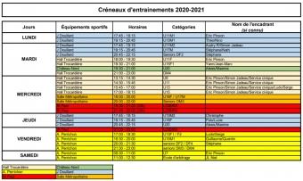 HORAIRES ENTRAINEMENTS 2020/2021
