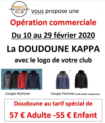 Vente de doudoune Kappa au logo du club